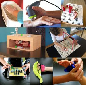 images illustrant les differents outils utilises pour la reeducation de la main
